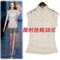 2013 fashion turtleneck lace short-sleeve T-shirt women's white t-shirt Women lace shirt