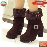 2013 fashion genuine leather thick heel boots motorcycle boots knee-high boots