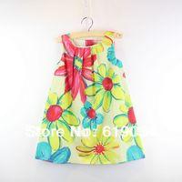 free shipping wholesale Fashion single oil painting flower child female child 100% cotton ink painting sleeveless tank dress
