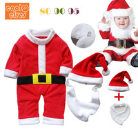 Wholesale+Free shipping Children's christmas style romper with hat bibs,Baby rompers/jumpsuits/one-pieces,3 sets/lot,Hot selling