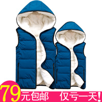 13 fashion autumn and winter lovers down cotton vest cotton vest outerwear fashion with a hood kaross