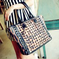 Square leopard print cloth 2013 punk rivet vintage women's handbag women's handbag shoulder bag