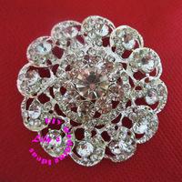 45mm crystal rhinestone brooch pin with silver backing,  wedding diamante brooch pin, DIY Wedding supplies,100pcs/lot