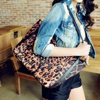 Rivet leopard print dumplings bag 2013 women's handbag shoulder bag casual bag all-match queen big bag cloth