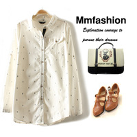 2013 autumn women's 100% cotton female shirt basic shirt