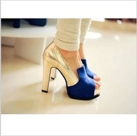 2013 Popular Colorant Match Thick High Heeled Pumps Female Casual Fashion Open Toe Shoes Free Shipping