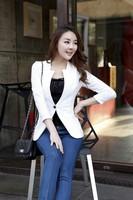 Free shipping lace slim blazers women fashion single button thin OL jacket White/black/pink