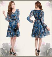 2013 fashion women's chiffon dress Floral Prints Long sleeve dress slim plus size M-3XL