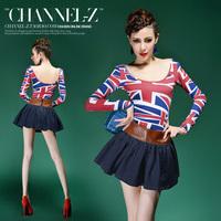 Channel-z crus autumn and winter fashion sexy torx flag print o-neck long-sleeve slim basic t-shirt female