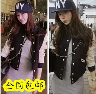 Fashion solid color casual sweatshirt design short outerwear small jacket baseball uniform e19
