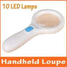 6x, 16X iluminado plástico de mano periódico de la lectura de las personas de edad avanzada lupa de la lupa con LED lámparas para sellos valoración de vidrio