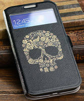 Fashion Cool Design Skull S View Automatic Sleep Wake Smart Cover Case For Samsung Galaxy S4 S IV I9500 9500 Free Shipping