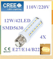 4pcs Super brightness 12W E27 E14 B22 SMD 5630 42 LED Screw Corn Light  360 degree lighting angle led bulb FREE SHIPPING