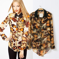 vintage fashion leopard print front short and long back women's chiffon shirt  long-sleeve blouse female basic top