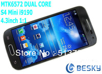 "NEW High quality 1:1 I9190 9190 MINIs4 4.3"" 512MB RAM 4GB ROM MTK6572 dual core 1.3G smart phone 3G GPS smart phones Freeshiping"