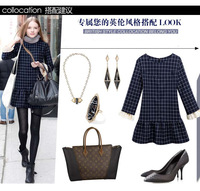 fashion women's clothing dresses 2013 new autumn winter brief plaid long sleeve ball gown cotton lady's dress 6702