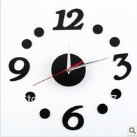 Fashion Home Decoration Modern DIY Wall Clock - Black