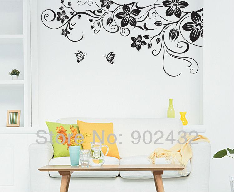 Large Size Black Vinyl Butterfly Flowers Vine Art Wall