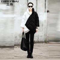 Women Winter Down Coat 2013 Fashion Medium-Long Fashion Thickening Black And White Color Block Decoration Jacket PH01