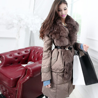 Free Shipping! High-end Customization Fox Fur Lapel Collar Long-sleeve Fashion Thicken Women Down Jackets Coats,GRYR189