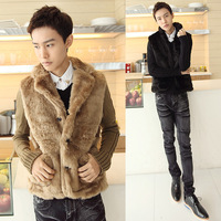 2013 autumn and winter fashion fur male quality needle yarn slim velvet wadded jacket outerwear