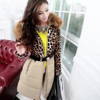 Free Shipping! High-end Customization Raccoon Fur Collar Leopard Grain Long-sleeve Thicken Women Down Jackets Coats,GRYR202