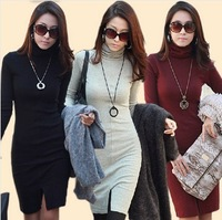 New 2013 Autumn-Winter Fashion Women Slim Fit Long Sleeves knee-length Dress Turtleneck Split Plus Size Dresses 3 Colors