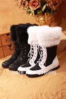 FREE Shipping italian luxury brand femme women high boots winter warm genuine leather rabbit fur botas chaussures woman