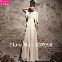 2014 New Cape Formal Dress  Bridal Evening Dress Slit Neckline Bridesmaid Dress Full