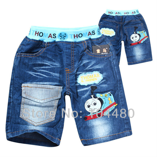 thomas cartoon grapic design fashion kids short jeans,children boys summer denim pant,toddler baby mid regular trousers retail(China (Mainland))