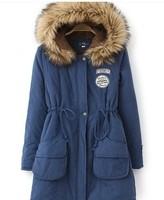 2014 new Women's berber fleece thickening Fur Collar medium-long with hood cotton-padded jacket winner jacket,ladies fashion new
