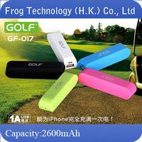Original Brand Golf mobile power Bank gf-017 tiger 17 charge treasure 2600mah+ retailed package + free shipping
