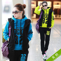 Autumn and winter lovers sweatshirt piece set 2013 plus size thickening lovers set sportswear outerwear female