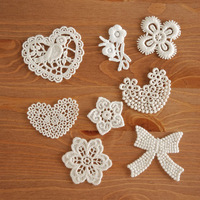 Zakka 100% cotton lace motif flower heart series  a1