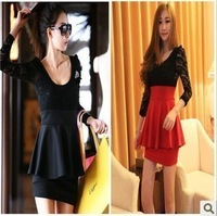 Free Shipping 2013 Hot Sale Sexy Black Lace Long Sleeve Red Clubbing Cocktail Party Mini Women Dress Fashion New Arrival