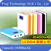 Original Brand Golf mobile power Bank gf-LCD04 charge treasure 10400mah+Dual USB+ LED Display+retailed package + free shipping