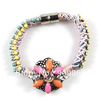 6pcs/lot - Fashon Cute Lovely FLOWER Pendant Charm Knitted Magnet Bracelet Bangle for Women Free Shipping! Bracelet Length: 17cm