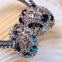 Finding 100Pcs Colorized Crystal Charm European Beads Fit Bracelet