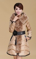 2013winter ladies real  luxury large rex rabbit fur collar fur collar slim elegant belt female medium-long down coat hooded P50
