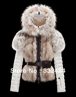 2013 Winter Rabbit Fur Warm Slim Fit Outwear  Women 's Fur Collar Parkas Waistband Decoration Thick Jacket  Clothing Down Coat