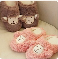 Double winter hot-selling at home cotton drag little sheep cartoon lovers thermal floor slippers