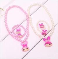 {Min.order $15}  10sets/Lot 2013 New Princess/Girl/Kids/Children Plastic Colorful Beads Rabbit Pendent  Necklace with Bracelet