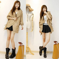 2013 spring and autumn clothing plus size mm slim waist slim medium-long elegant trench outerwear