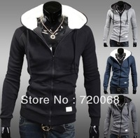 2013 Hooded thickening cardigan jacket Korean fashion plus velvet jacket men's casual jackets