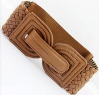 New arrival fashion bowknot knitted wide cummerbunds ,female high quality designer imitation leather belt