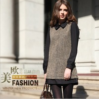 Free Shipping ! 2013 Newest  Europe and America  fashion  Dress ,lapel,Sweet,top quality,comfortable,Hot Sale