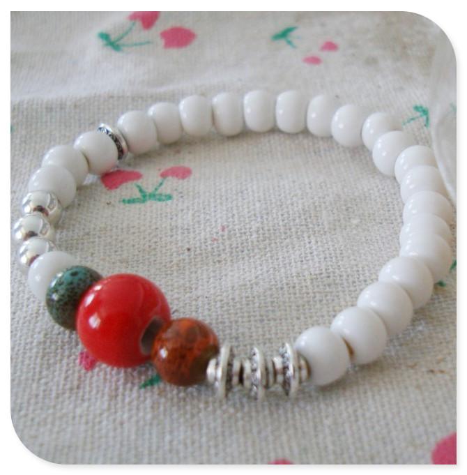 Ceramic whitest 6mm tibetan silver bracelet accessories female national trend fashion brief girlfriend birthday present gifts(China (Mainland))