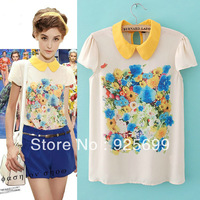 Summer Women Shirt Cute Peter Pan Collar Top Retro Colorful Flower Print Chiffon Casual Women Blouses Loose Shirts Free Shipping