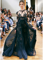 Charming Black Jewel Full Sleeves Sheath Heavy Appliqued Chiffon Zuhair Murad Long Prom Evening Dress Custom Made 2014