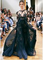 Charming Black Jewel Full Sleeves Sheath Heavy Appliqued Chiffon Zuhair Murad Long Prom Evening Dress Custom Made 2014